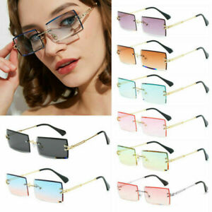 UV400 Rimless Fashion Sunglasses Rectangle Sun Glasses Summer Trendy Eyewear