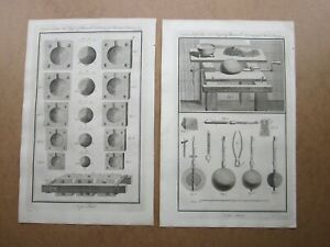 2 x ANTIQUE ENGRAVINGS, Late 18th Century Early BOMB ?? Making, TOOLS etc.....