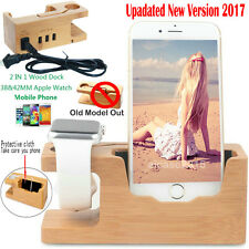 Bamboo Wood Charging Stand Dock Charger Holder F Apple Watch /iphone 3 USB Port