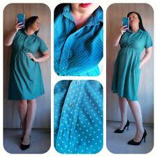 Pretty vintage tea dress green white spots sz M Uk 12 14