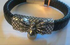 "Spider, Stainless Steel & Leather Bracelet. Mens. 8.5"""