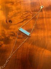 Turquoise Gold Plated Bar Bracelet Boho ~ Gypsy