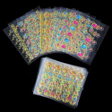 24 Sheet Golden Edge Gems 3D Nail Art Stickers Decals Transfer Glitter Tips Deco