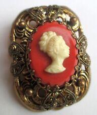Ancienne superbe broche couleur or beau camée femme empire bijou vintage 5205