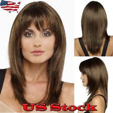 Womens Ladies Long Medium Brown Straight Fringe Bangs Hair Fashion Wig Costume