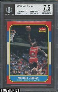 1986 Fleer Basketball #57 Michael Jordan RC Rookie HOF BGS 7.5 w/ 9 LOOKS NICER