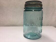 VTG ATLAS ACQUA BLUE PINT STRONG SHOULDER MASON CANNING JAR BUBBLES ZINC LID