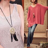 EG_ Boho Women Retro Dream Catcher Feather Pendant Long Sweater Chain Necklace B