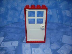 Lego - Doors - White Door and Red Frame - 2x4