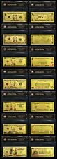 FULL SET OF 7 USA COLOURED COA PACKS GOLD LIMITED EDITION COLOURED BANK NOTE