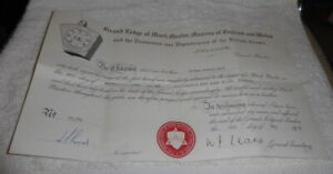 Vintage Masonic certificate, Mark Province of Staffordshire dated 1981