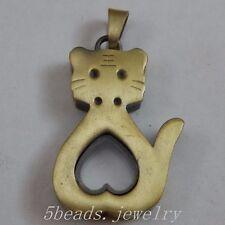 2x Antike Bronze Legierung Netter Katzen Magnet Medaillon Charme Anhänger 50128