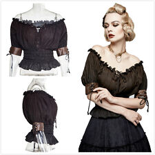 Punk Rave T-444 Womens Black Brown Gothic Steampunk Slash Neck  Blouse Top