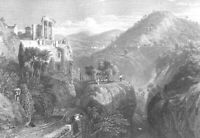 Italy, TEMPLE OF VESTA TIVOLI Villa Gregoriana GORGE ~ 1836 Art Print Engraving