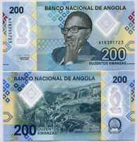 Angola 200 Kwanzas 2020 P 160 Polymer UNC LOT 5 PCS