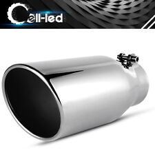 """Bolt On Exhaust Tip 3.5"""" Inlet 5"""" Slant Outlet 12"""" Length Stainless Steel"""