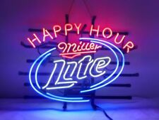 "New Miller Lite Happy Hour Beer Neon Light Sign 24""x20"""