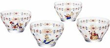 Disney Alice in Wonderland glass cup set of 4 with Box Cheshire Queen Japan NEW