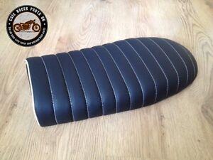 BLACK LEATHER LOOK FLAT CAFE RACER SEAT BRAT STYLE +MULTI FIT BRACKETS * PROJECT