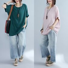 Women Linen Loose Batwing Short Sleeve T-shirt Longline Check Textured Tunic Top