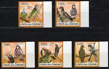COMORES 2009 LES PERROQUETS DIE PAPAGEIEN PARROTS VOGEL BIRDS SIDE STAMPS MNH