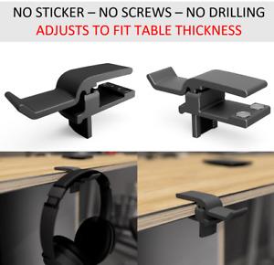 Headphone Mount Hanger Adjustable Stand Holder Hook Under Desk Headset Clamp
