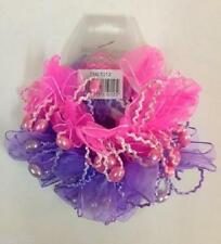 2 x Top Notch Fashions Pink & Purple Elasticated Scrunchie Lace Pearlescent Bead