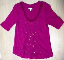 Anthropologie Meadow Rue Top Small Womens Boho Crochet Sequin 3/4 Sleeve Plum