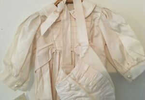 Victoria Rose Antique Style Long Silk Christening Gown & Bonnet Ivory 6 -12 Mths