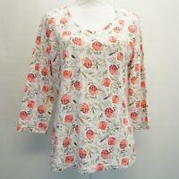 Karen Scott Womens Top 3/4 Sleeve V Neck Floral Print Shirt Daring Dynasty