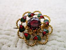 Christmas Brooch Pin Vtg Victorian Edwardian Gold Gild Red Green Enamel Jeweled