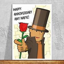 PERSONALISED ROMANTIC CARD - Professor Layton - anniversary valentines love game