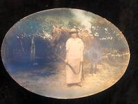 """Antique Victorian Convex Oval Portrait Photograph UNIQUE Lady & Horse19.75"""" X 14"""