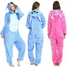 Unisex Adult Kids Pajamas Animal Kigurumi Cosplay Costume Blue Stitch Sleepwear.