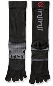 Injinji Multi-Sport Toe Crew Socks Performance 2.0 Midweight Unisex Black SMALL