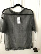 Pull And Bear Silver Metal Fibre Sheer Top Size M Brand New With Tags
