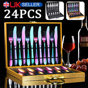 24PCS Stainless Steel Cutlery Sets Stylish Dining Knife Spoon Fork and Teaspoons