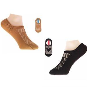 2 Pairs Women Ladies Fishnet Heart Mesh Design Footsies Trainer Invisible Socks