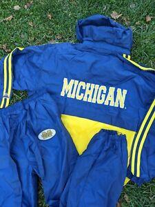 VTG 90's NOS Michigan Wolverines Windbreaker Jacket Pants Set Size XXL Tank NWT