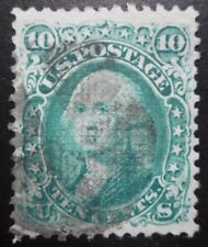 U.S.Stamp:Scott#89, 10c, Green, 11mm X 13mm grill, Design of 1861-62, issue 1868