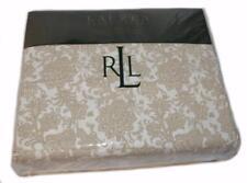 RALPH LAUREN Beige Toile Floral 4PC QUEEN SHEET SET NEW COTTON