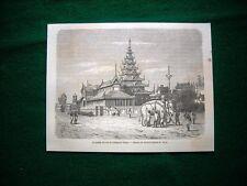 Gravure année 1860 le palais du roi et l'eléphant blanc