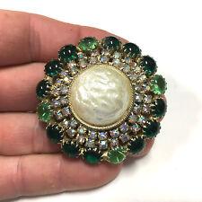 Vintage Green Cabochon & AB Rhinestone Baroque Pearl Domed Brooch Pin FF120k