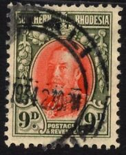 Southern Rhodesia SG 21b Cat £14 9d Vermilion & Olive Green Fine Used