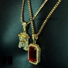 "HIP HOP ICED OUT RUBY & JESUS mini  PENDANT 24"" 30"" BOX CHAIN COMBO NECKLACE #11"