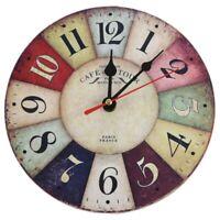 1X(Timelike Orologio Da Parete nel Legno Design Moderno Vintage Rustico Sha R3C2