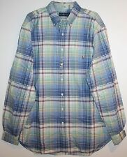 Polo Ralph Lauren Big and Tall Mens Light Blue Plaid Button-Front Shirt NWT 3XLT
