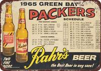 "1965 Green Bay Packers Rahr's Beer Vintage Retro Metal Sign 8"" x 12"""