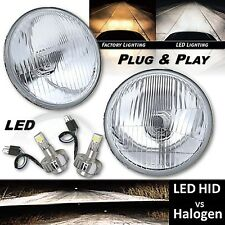 "5-3/4"" Stock Glass Headlight 6k LED H4 Light Lamp Bulb High Beam Headlamp Pair"