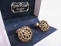 Penrose of London Designer Gold Plate Lumley E Cutout Round Olive Enamel #CL56